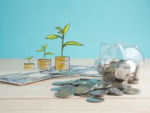 Trasparente veda attraverso il porcellino salvadanaio riempito di monete su fondo di legno Concetto di colore di investimento di  immagine stock libera da diritti