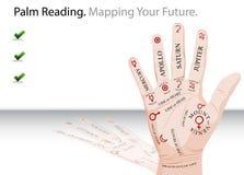 Trasparenza della lettura della palma Fotografia Stock