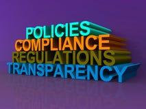 Trasparenza di regolamenti di conformità di politiche Immagini Stock
