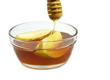 Trasparenze e miele del Apple isolati su bianco Immagini Stock Libere da Diritti