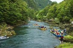 Trasportare campionato con una zattera sul fiume di Una Fotografia Stock Libera da Diritti