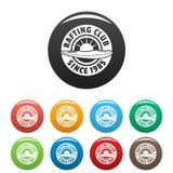 Trasportare colore con una zattera stabilito delle icone del club illustrazione di stock