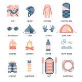 Trasportare gli elementi con una zattera infographic Fotografie Stock