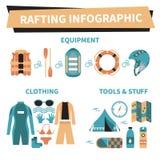 Trasportare gli elementi con una zattera infographic Immagine Stock Libera da Diritti