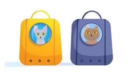 Trasportatore dell'animale domestico per il vettore del gatto fumetto Arte isolata su fondo bianco piano illustrazione vettoriale