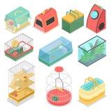 Trasportatori isometrici dell'animale domestico con la Camera del portatile e dell'acquario per il gatto, il criceto e l'uccello royalty illustrazione gratis