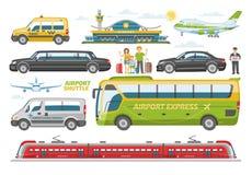 Trasporti il bus del veicolo di vettore o treno ed automobile trasportabili pubblici per trasporto nell'insieme dell'illustrazion Fotografie Stock Libere da Diritti