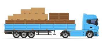 Trasporti il rimorchio su autocarro dei semi per trasporto del vettore IL di concetto delle merci Fotografia Stock Libera da Diritti
