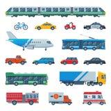 Trasporti l'aereo del bus di vettore o treno e veicolo o bicicletta trasportabile pubblico per trasporto nell'illustrazione della royalty illustrazione gratis