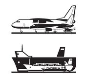 Trasporto del carico dal mare e da aria illustrazione di stock