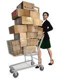 Trasporto del carrello di acquisto del cliente Immagine Stock