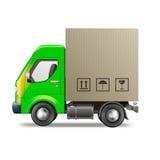 Trasporto del pacchetto della scatola di cartone del camion di consegna Fotografie Stock