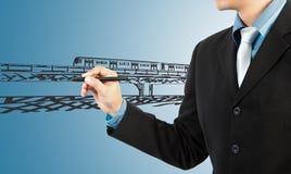 Trasporto del treno di tiraggio dell'uomo di affari immagini stock