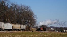 Trasporto del vapore e treno combinato del passeggero archivi video