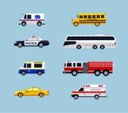 Trasporto del veicolo - icone piane di progettazione di vettore messe Fotografia Stock Libera da Diritti