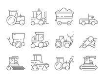 Trasporto dell'azienda agricola Simboli lineari delle macchine del bulldozer della mietitrice di vettore pesante agricolo del tra royalty illustrazione gratis