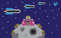 Trasporto dell'elio dalla luna a terra illustrazione vettoriale