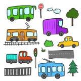Trasporto della città del fumetto, alberi, strade, luci Fotografia Stock Libera da Diritti