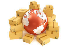 Trasporto della scatola di cartone e concetto mondiale di affari di consegna, globo del pianeta della terra rappresentazione 3d E Immagini Stock