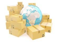 Trasporto della scatola di cartone e concetto mondiale di affari di consegna, globo del pianeta della terra rappresentazione 3d E Fotografia Stock Libera da Diritti
