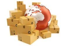 Trasporto della scatola di cartone e concetto mondiale di affari di consegna, globo del pianeta della terra rappresentazione 3d E Immagini Stock Libere da Diritti