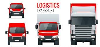 Trasporto di logistica Rimorchio del camion di vista frontale, camion dei semi, consegna del carico, furgone e furgoncino Consegn illustrazione vettoriale