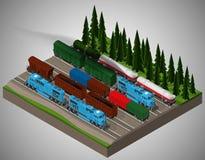 Trasporto di merci ferroviario Fotografia Stock