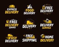 Trasporto e consegna fissati icone Illustrazione di vettore illustrazione di stock