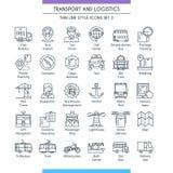 Trasporto e linea logistica icone 02 illustrazione vettoriale