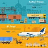 Trasporto e merci aviotrasportate ferroviari royalty illustrazione gratis