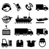 Trasporto ed insieme dell'icona del carico Fotografia Stock