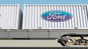 Trasporto ferroviario dei contenitori con il logo di Ford Motor Company Rappresentazione editoriale 3D Fotografia Stock Libera da Diritti