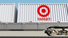 Trasporto ferroviario dei contenitori con il logo di Target Corporation Rappresentazione editoriale 3D Fotografia Stock