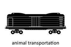 trasporto ferroviario di trasporto animale con il nome Il carico trasporta il trasporto di spedizione La vista laterale dell'illu royalty illustrazione gratis