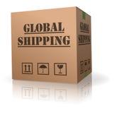 Trasporto globale della scatola di cartone Immagini Stock Libere da Diritti