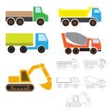 Trasporto industriale, disegno semplice del ` s dei bambini per colorare camion, scaricatore, vagone, escavatore, betoniera ENV Immagine Stock Libera da Diritti