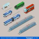 Trasporto isometrico di vettore 3d della città: fermata dell'autobus del tram del carrello Fotografia Stock Libera da Diritti