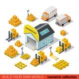 Trasporto isometrico piano di consegna del magazzino di vettore infographic Fotografie Stock
