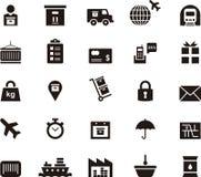Trasporto, logistica ed icone di trasporto Fotografie Stock Libere da Diritti
