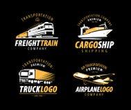 Trasporto, logo di spedizione Trasporto di carico, insieme di etichetta di consegna Illustrazione di vettore royalty illustrazione gratis