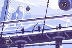 Trasporto pubblico futuro di Hyperloop illustrazione vettoriale
