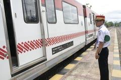 Trasporto Railbus nelle stazioni di Sukoharjo Immagine Stock Libera da Diritti