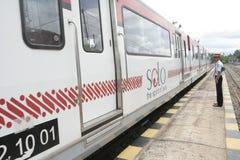 Trasporto Railbus nelle stazioni di Sukoharjo Fotografia Stock