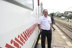 Trasporto Railbus nelle stazioni di Sukoharjo Fotografia Stock Libera da Diritti
