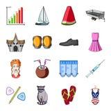 Trasporto, ricreazione, animale e l'altra icona di web nello stile del fumetto Medicina, bellezza, icone di modo nella raccolta d Fotografie Stock