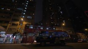 Trasporto sulla strada di notte di Hong Kong video d archivio