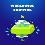Trasporto in tutto il mondo Consegna veloce illustrazione di stock