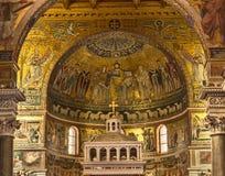 trastevere för basilicamaria st Arkivfoto