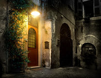 Trastevere in Rome. Old district Trastevere in Rome in the night, Italy stock image