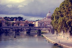 Trastevere. View to Vatican City, Ponte Sant'Angelo Stock Photography
